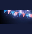festive banner with american flags vector image