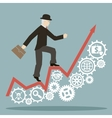 flat design style businessman goes to success on vector image