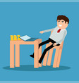 freelancer is sitting at the desk vector image vector image
