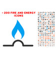 gas flame icon with bonus power clipart vector image vector image