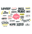 hand drawn lettering set vector image