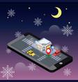 isometric of cozy cafe snow winter night vector image