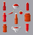 ketchups and sauces stickers vector image vector image