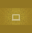 laptop computer icon over computer chip moterboard vector image