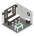 Lounge for men room isometric icon set vector image vector image