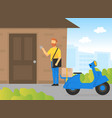male courier character delivering parcel to vector image vector image