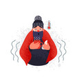man with fever holding cup of warm tea vector image vector image