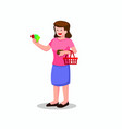mom holding money or voucher coupon flat vector image vector image