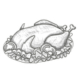 Monochrome sketch turkey on plate vector image