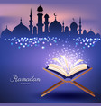 muslim quran with mosque and abstract candles vector image vector image