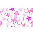 neon cartoon pattern fluorescent squid starfish vector image vector image