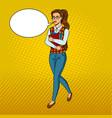 nerd student girl pop art vector image vector image