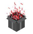 open box confetti icon isometric style vector image