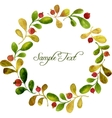 round wreath with watercolor green leaves and red vector image vector image