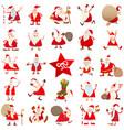 santa claus christmas cartoon characters large set vector image vector image