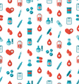 Seamless Pattern with Flat Medical Icons Repeating vector image