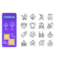 set children simple lines icons kid equipment vector image vector image