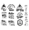 set of fast food emblems taco hot dog nachos vector image