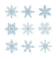 set snowflakes on white isolated vector image