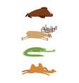 sleeping animals set 1 seal and moose crocodile vector image