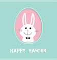 smiling bunny rabbit hare inside painted egg vector image vector image