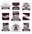 Snowboard and mountains emblems vector image vector image