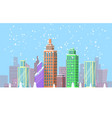 snowy cityscape bright poster vector image vector image