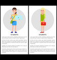 student girls poster set vector image vector image