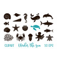 underwater animals clipart - a set silhouettes vector image vector image