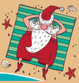 view from above on santa claus on the beach vector image