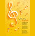 yellow background with music notes and key vector image vector image