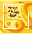 yellow liquid abstract poster design 3d style vector image vector image
