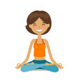 yoga girl in lotus position cartoon vector image vector image