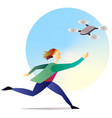 young man running with drone in sky vector image