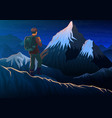 mountain everest with tourist night panoramic vector image