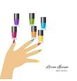 Nail polish Woman hand with applying a varnish on vector image