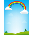 Rainbow and blue sky background vector image