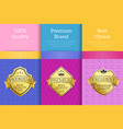 100 quality premium brand quality best labels vector image vector image