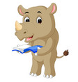 a cartoon rhino holding a book vector image