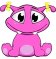 a cute pink monster vector image vector image