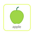 apple icon green outline flat sign isolated vector image