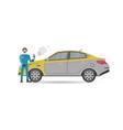 auto mechanics in uniform car painting icon vector image