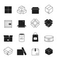 box icons cardboard packages envelopes mail stack vector image