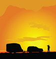 camping in landscape man silhouette vector image