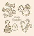 candy set hand drawn in a graphic style vector image