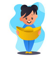 cartoon chinese girl holding hat on white vector image vector image