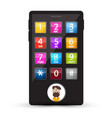 cell phone with numbers and man avatar on screen vector image vector image