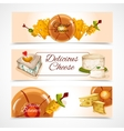 Cheese banners horizontal vector image vector image