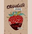 chocolate covered strawberry retro menu design vector image