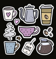 coffee big set handdrawn stickers vector image vector image